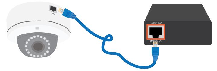 PoE-Anschluss der IP-Kamera