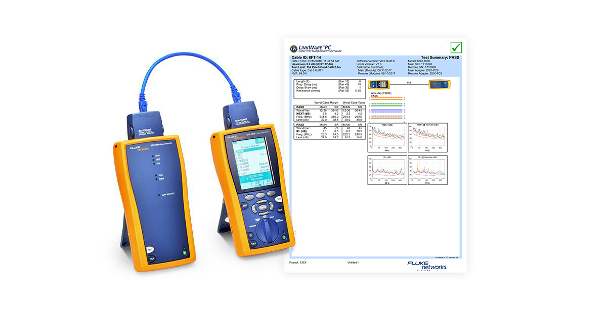 FS cable cat6 Fluke patch cord testing report