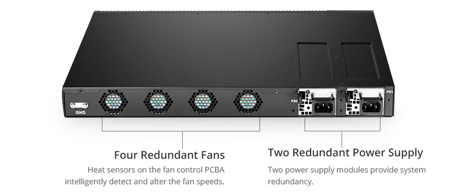 Managed switch S5800-8TF12S provides system redundancy and energy consumption reduction