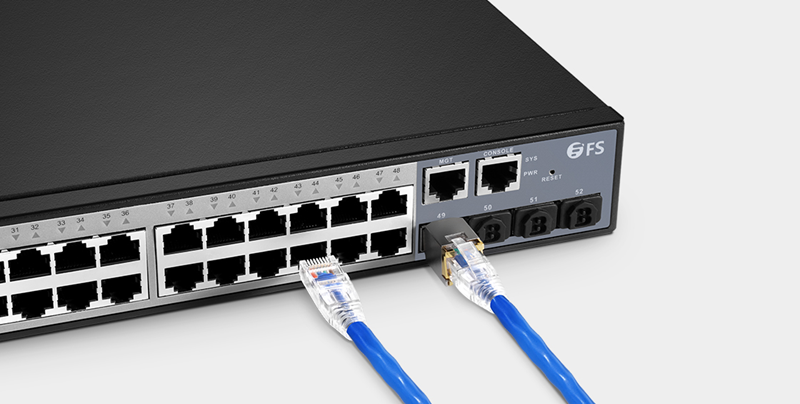Ethernet Cable Connecting to a PoE Switch