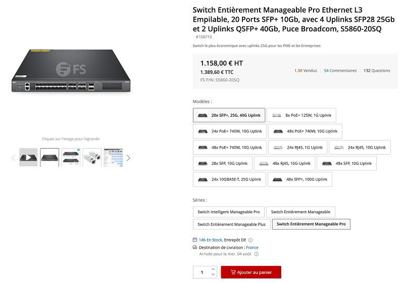 Switch Niveau 3 FS S5860-20SQ