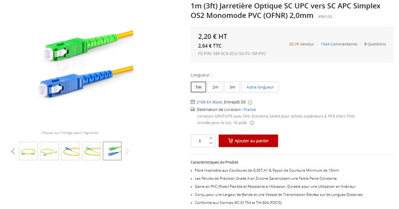 1m Jarretière Optique SC UPC - SC APC