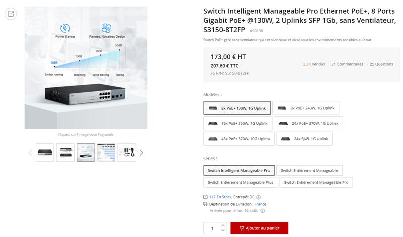 Switch 8 Ports Gigabit PoE+