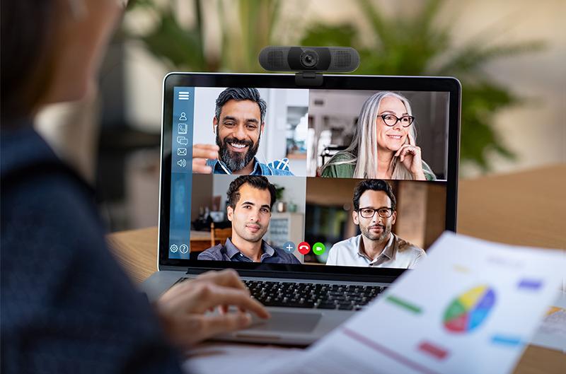 Webcam pour vidéoconférence. Travailler à domicile