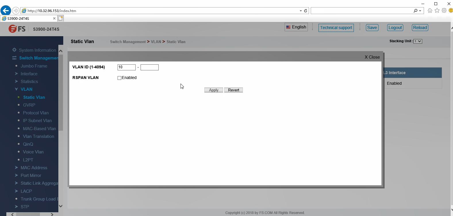 Configuration du VLAN via une interface graphique Web -1 .png