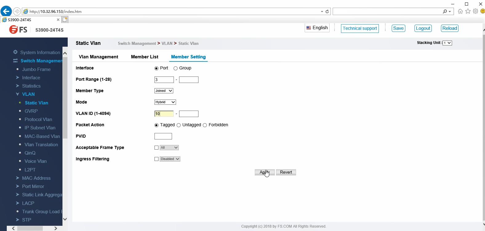 Configuration du VLAN via une interface graphique Web -4 .png