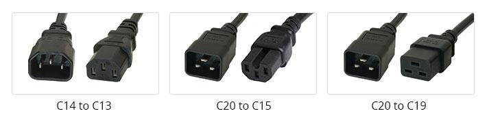 Common C13, C15, C19 power cords