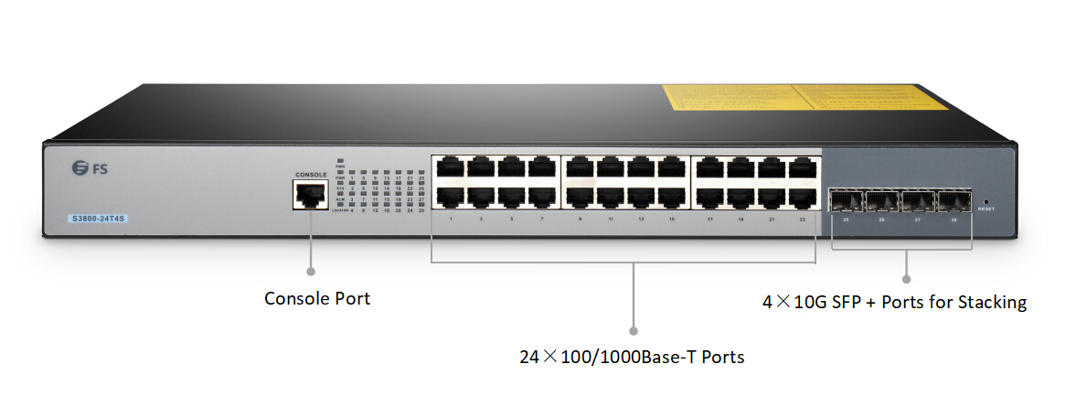 S3800-24T4S stackable managed switch