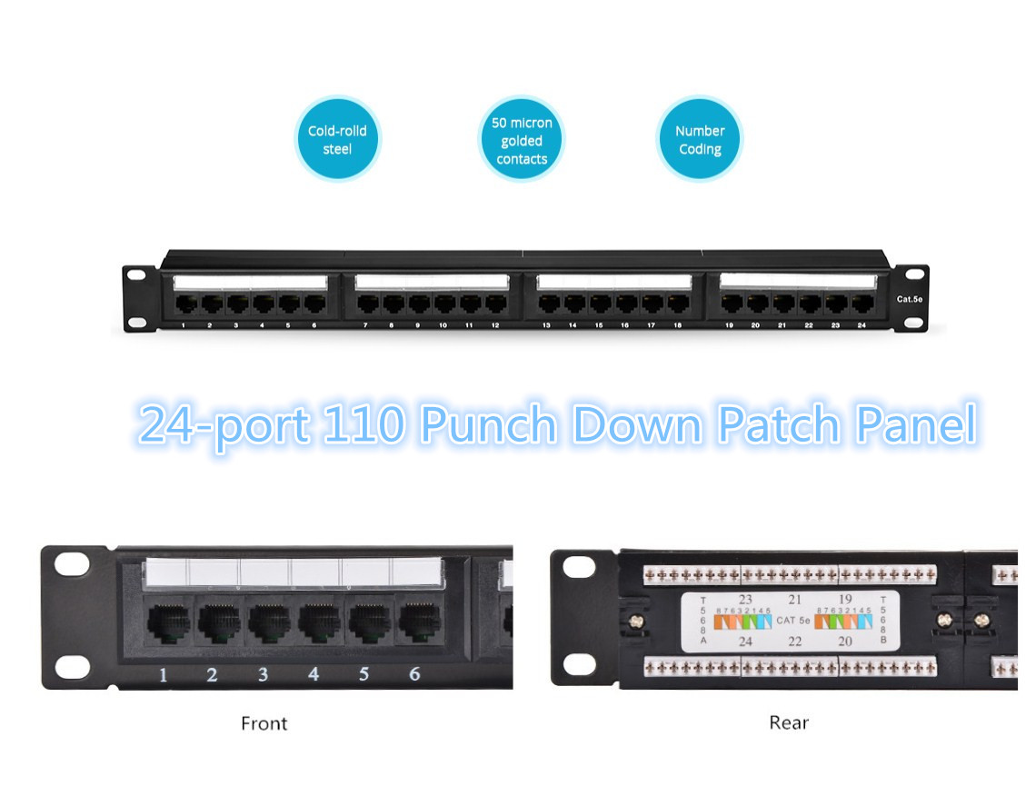 24-port 110 Punch Down Patch Panel